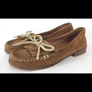 Lucky Brand suede leather fringe moccasin shoes